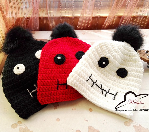 little devil eyes pom pom fur ball Halloween brand Fashion Lady Girls Winter Warm Knitting Wool Beanie Ski Hat Cap for women the new children s cubs hat qiu dong with cartoon animals knitting wool cap and pile