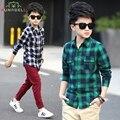Camisas Para los muchachos niños del resorte camisas de los bebés de alta calidad marca muchachos de la tela escocesa camisas de los niños tops tees moda camisas de los muchachos L321