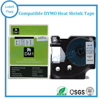6PK Free shipping DYMO Rhino label tapes RS11W 19mm*2.5m heat shrink tube tape black on white