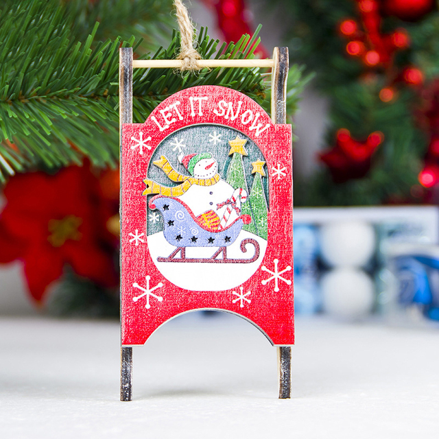 1pc diy wood sled christmas crafts sled wooden pendants ornaments xmas tree ornament for home christmas - Wooden Sled Decoration Christmas