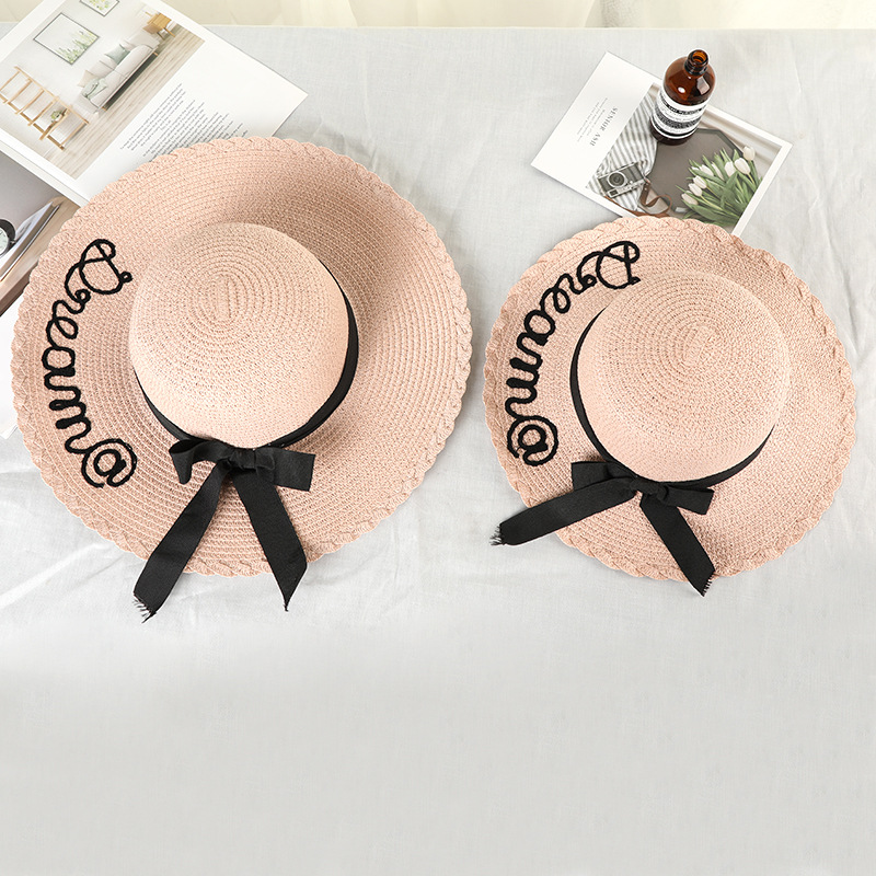 Family Matching Beach Straw Women Girl Letter Hats Mom And Daughter Summer Seaside Sun Cap For Travel