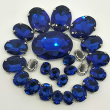 NEW!!! MIX Sapphire blue OVAL Size Crystal Glass Sew-on Rhinestones Silver Bottom DIY Womens Dresses and shoes BAG 30pcs 5SIZES
