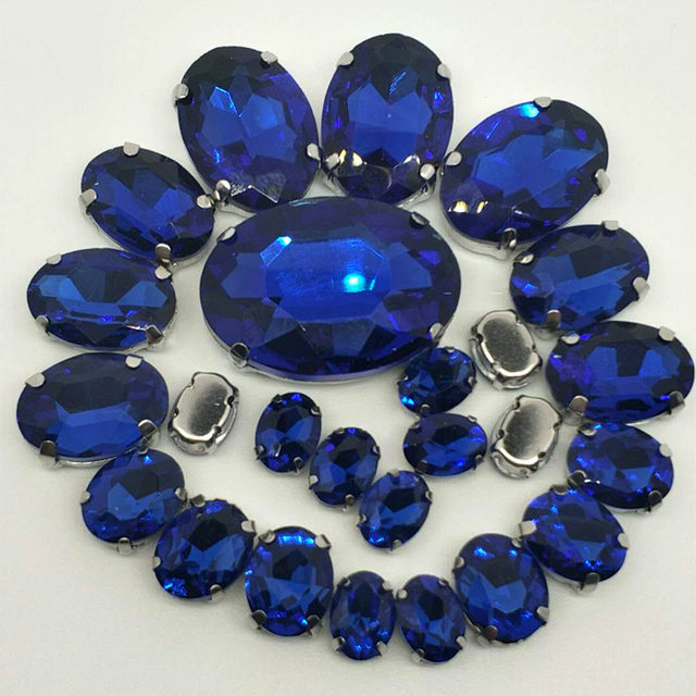 bfb6da430b US $2.78 54% OFF|NEW!!! MIX Sapphire blue OVAL Size Crystal Glass Sew on  Rhinestones Silver Bottom DIY Women's Dresses and shoes BAG 30pcs 5SIZES-in  ...