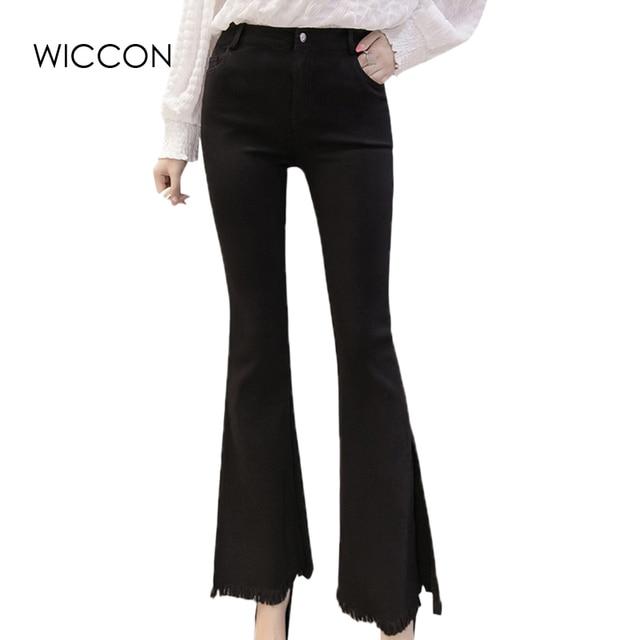 4f6b537901a9 New Autumn Women Office Work Slim Flare Pants Slit Side Black Ladies  Business Wear Tassel Trousers Female Skinny Pants WICCON