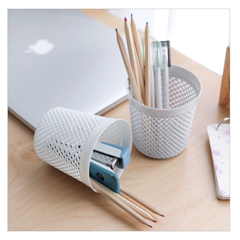 Braid Round  Shape Pen Holder Storage Pencil Stationery Desk Accessories White And Grey Pencil Holder