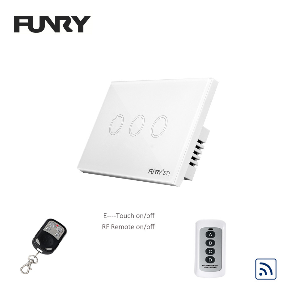 Funry Sensor Touch Switch ST1 1Gang 2Gang 3Gang US Standard Glass Touch Switch 110-240V Wall Light RF433 Remote Control Switch funry st1 us 3gang light smart switch crystal glass panel wireless touch remote control 110 240v surface waterproof interruptor