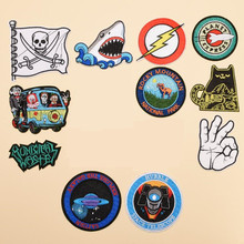 Animal Circular Space Gestures Patches Iron On Embroidered Patch For Clothing Sticker Badge Paste Clothes Bag Pants