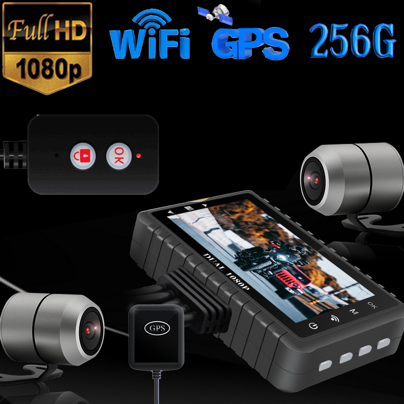 GPS WIFI FHD HD 1080P 256G 128G 64G Camera Motorcycle DVR Front Rear Dual Camera Driving Video Recorder Dash Cam Moto Bike Night