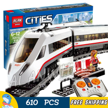 610pcs City Motorized Remote Control High-speed Passenger Train RC 02010 Figure Building Blocks Toys Compatible With Lago