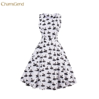 Chamsgend Vintage 1950 S Black Swan Birds Womens Summer Garden Swing Prom Rockabilly Cocktail Party 4XL