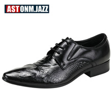 Hight Qulaity Mens Genuine Leather Pointed Toe Dress Shoes Crocodile Print Oxfords Business Man Lace Up Wedding Shoes цены онлайн