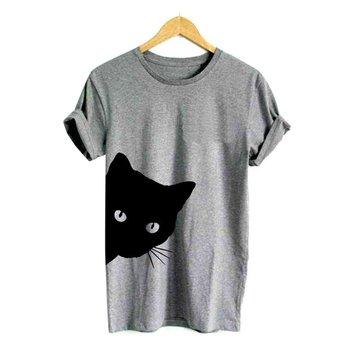 Camiseta divertida de algodón con estampado de gatos para mujer, Camiseta ajustada de manga corta de Harajuku para verano, camisetas Sexy coreanas para chicas, novedad de 2018, 1 Uds.
