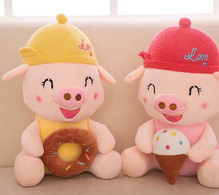1pc 35cm cute cartoon McDull pig with doughnut ice cream soft plush doll creative funny stuffed toy girl boy children gift