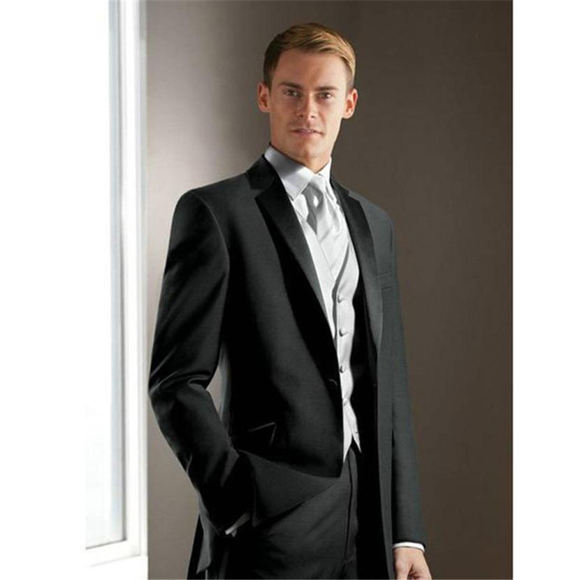 jacke + Hosen + Weste + Krawatte Elegante Licht Grau Männer Anzug Herren Hochzeit Smoking Für Bräutigam Besten Männer Party Smoking Anzüge 2017 Anzüge Herrenbekleidung & Zubehör
