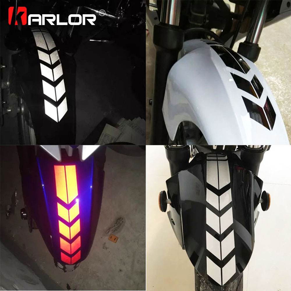 Motorcycle Reflective Stickers Wheel On Fender Waterproof Safety Warning Arrow Tape Car Decals Motorbike Decoration Accessories