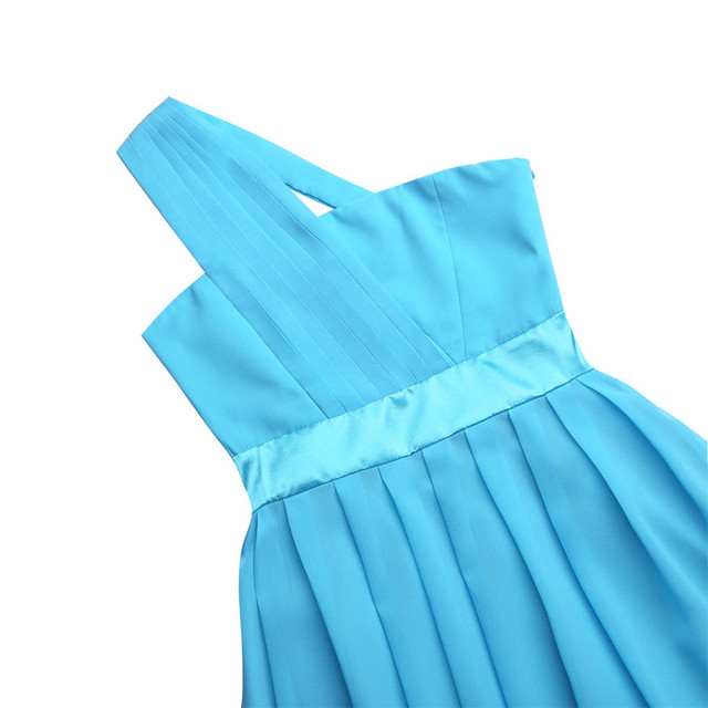 One Shoulder Sky Blue Flower Girl Dresses