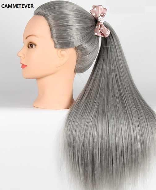 CAMMITEVER Gray Hair Mannequins Hairdressers Training Heads Mannequin Head Braid Training Doll