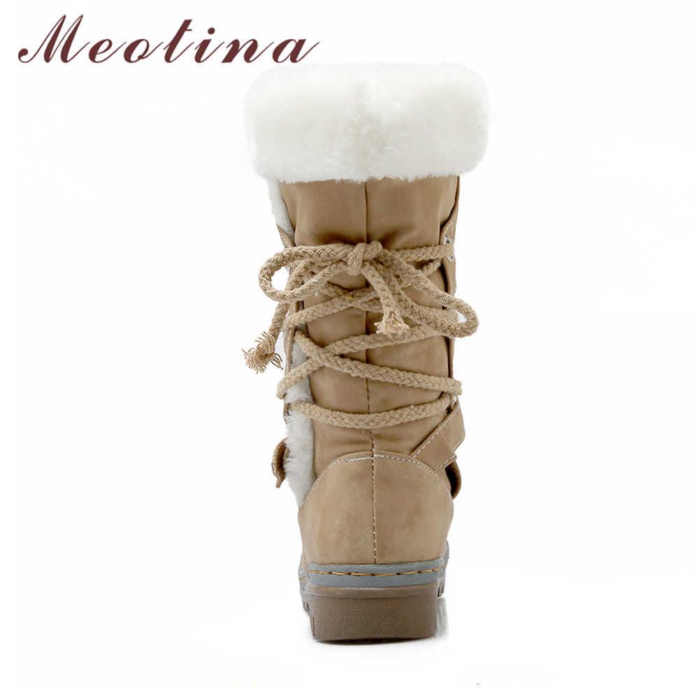 Meotina Orta Buzağı Çizmeler Kış Kar Botları Kadın Toka Peluş Ayakkabı Düz Yuvarlak Ayak Çizmeler Rahat Bej Sarı Boyutu 34 -46