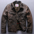 NEW ! Baker Hamm Men do the old Genuine leather Lapel cowhide jacket U.S. and European Biochemical motorcycle clothing / M-3XL