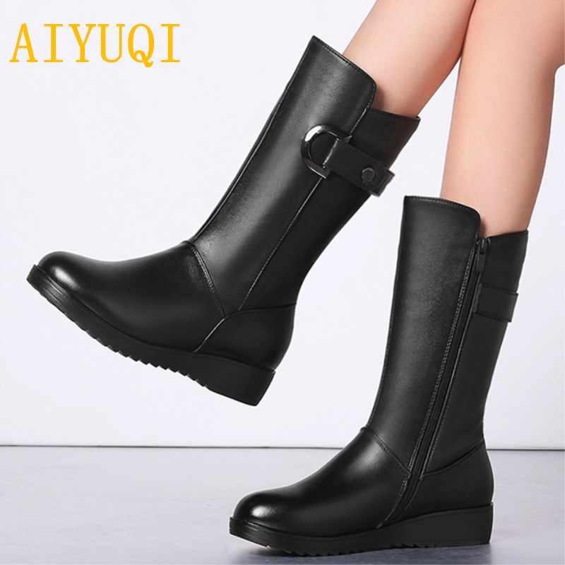 34fd832a8 AIYUQ/женские зимние ботинки из натуральной кожи, большой размер 41, 42, 43