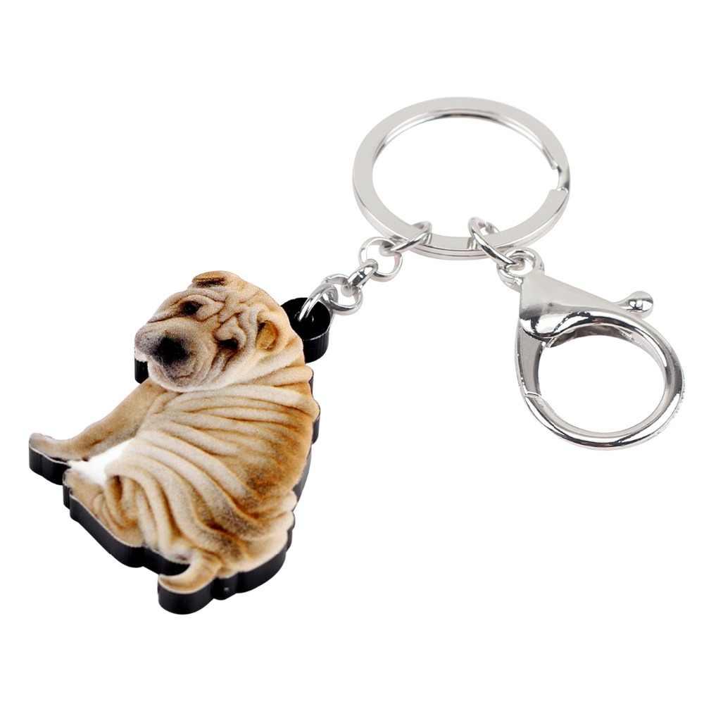 Bonsny Acrylic Mới Lạ Shar Pei Dog Dây Đeo Chìa Khóa Keychain Nhẫn Động Vật Túi Xách Xe Quyến Rũ Đồ Trang Sức Cho Phụ Nữ Cô Gái Phụ Kiện Món Quà