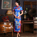 Long Satin Cheongsam Dress Tavas Robe Chinoise Women Qipao Plus Vintage Blue Evening Dress Vestido Chines Abiye Abendkleider