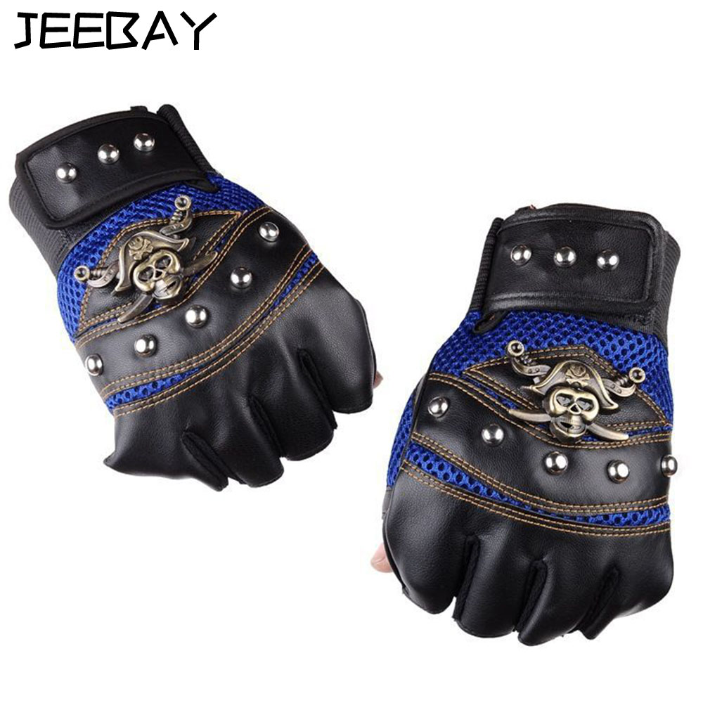 New Metal Skull Pirate Captain logo Punk Rock <font><b>Motorcycle</b></font> Leather <font><b>Fingerless</b></font> <font><b>Gloves</b></font> Bike motorbike cycle racing motocross <font><b>Glove</b></font>