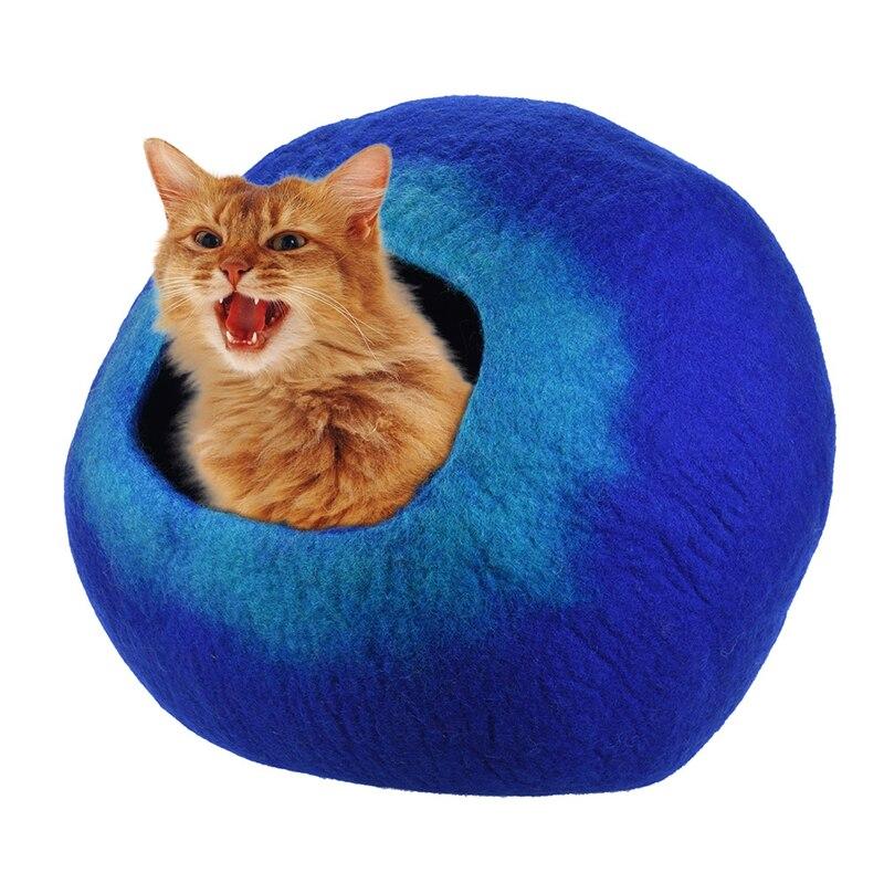 يدويا ملبده الصوف عش لينة مريحة الكلب القط السرير الحيوانات القط الكهف الاحتباس الذاتي كيس النوم للقطط كبيرة القطط البيت
