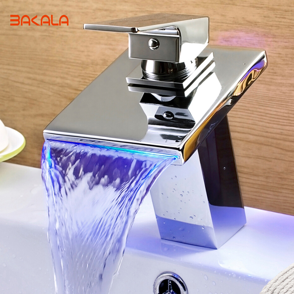 BAKALA The Contemporary Bathroom LED basin faucet Polished Chrome Waterfall faucet copper basin faucet Mixer Tap LED-509