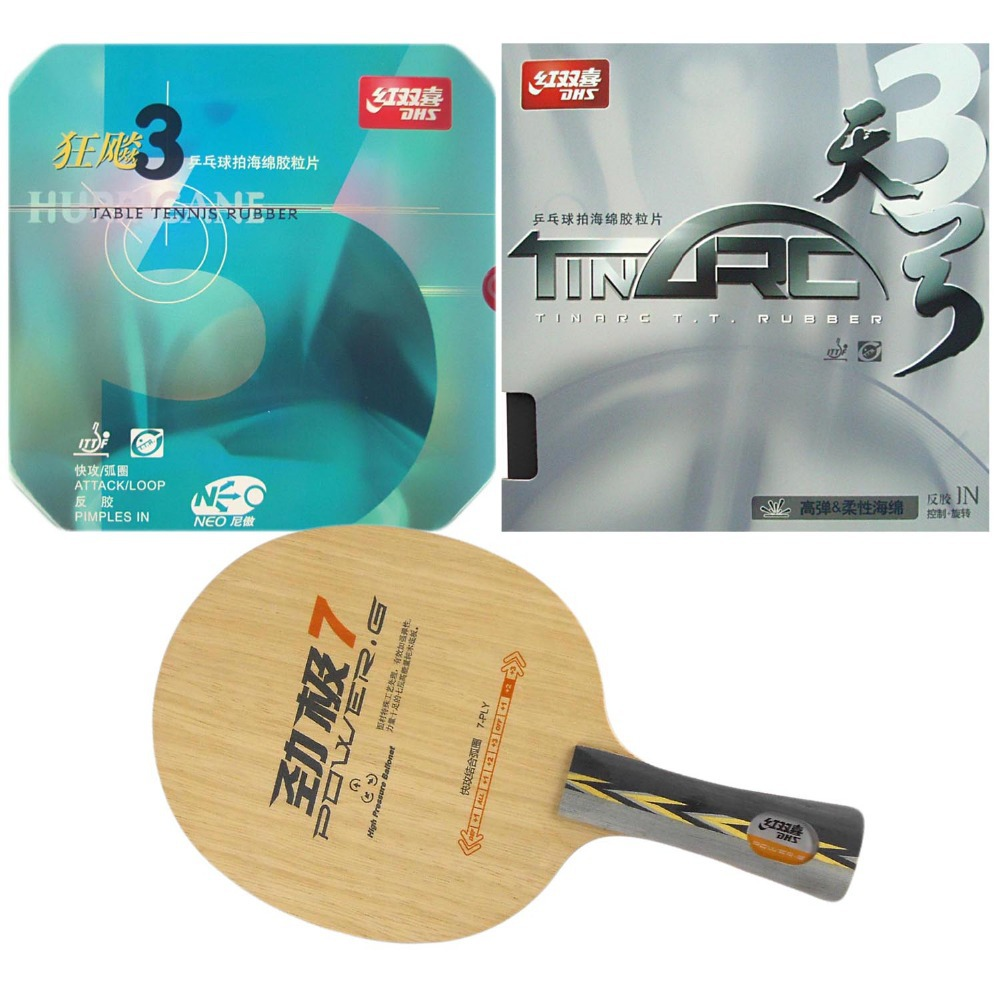 Combo Racket DHS POWER.G7 PG7 PG.7 PG 7 with DHS TinArc 3 and DHS NEO Hurricane 3 Rubbers Long Shakehand FL pro combo paddle racket dhs power g7 pg7 pg 7 pg 7 61second lm st and ktl rapid soft shakehand long handle fl