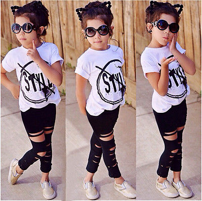 Two Pieces Kids Children Girls Clothes Set Baby Girl Summer Print T Shirt And Hole Pants Leggings Outfits Clothing