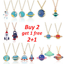 Buy 2 Get 1 Free Cartoon Enamel Rocket Astronaut Earth Star Moon Planet Pendant Necklace Women Jewelry Christmas Gifts Collares(China)