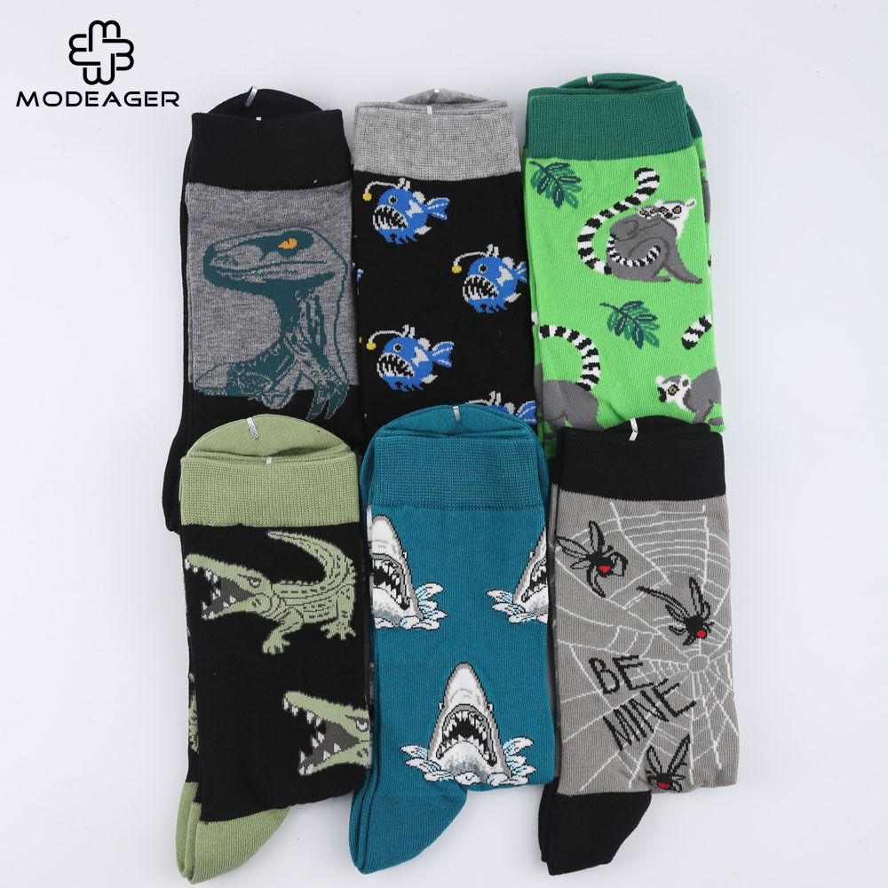 015f9c94303 Modeager Brand Casual Dinosaur Crocodile Shark Spider Cool Funny Animal Men  Socks Cotton long hip hop