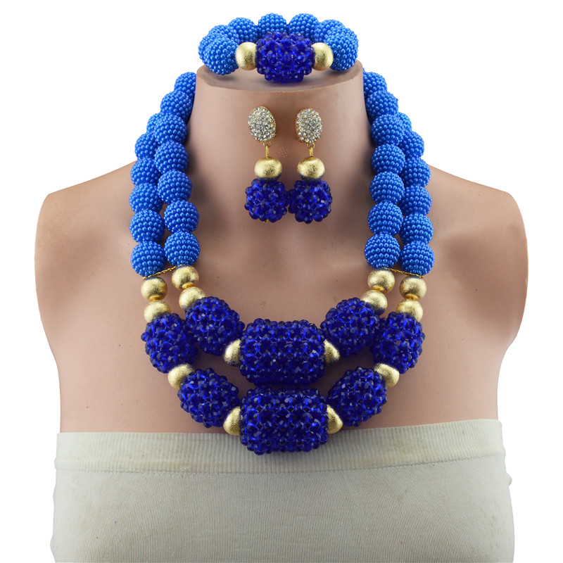 Jewelry Sets Nigerian Wedding African Beads Jewelry Set Blue Copper Beads Women Bridal Antique Gold Color Ethiopian Jewelry Set цены онлайн