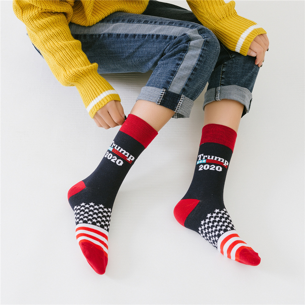 La MaxPa Stitching Color America National Flag Printed Socks Trump 2020 Cotton Sock Novelty Personality Chaussette Homme K1731