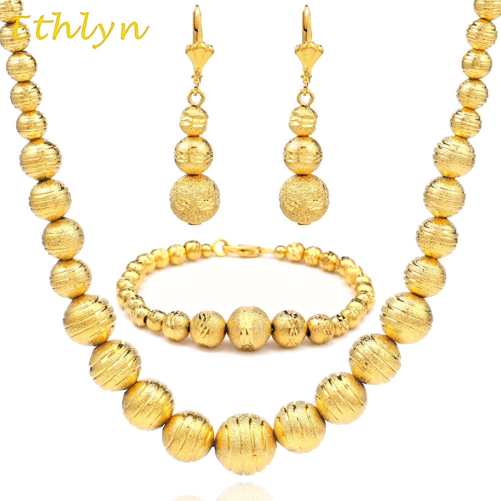 Ethlyn Fashion African Beaded Earring/Necklace/Bracelet Sets  Gold Color Ball Ethiopian  Women Jewelry Wedding S036Ethlyn Fashion African Beaded Earring/Necklace/Bracelet Sets  Gold Color Ball Ethiopian  Women Jewelry Wedding S036