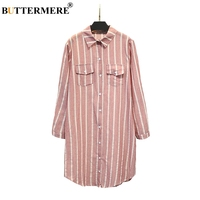 BUTTERMERE Brand Women Pink Striped Shirts Plus Size Cotton Long Shirts And Blouses 2017 Autumn Long