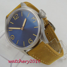 43mm PARNIS Sterile Blue Dial Sapphire Glass Stainless steel Case Top Brand Luxury Hand Winding Mechanical mens Watch