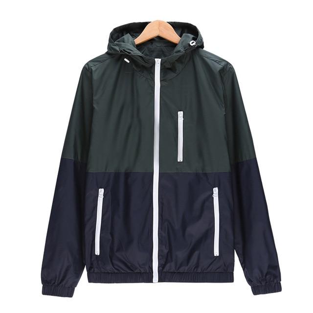 Ветровка мужская, повседневная, весенне-осенняя, легкая, с капюшоном, контраст цвета, на молнии, куртки, недорогая верхняя одежда 2020
