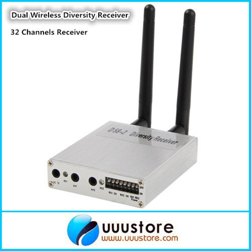 Boarnaque F05554 D58-2 5.8 GHz 5.8G sans fil diversité télécommande AV Audio vidéo double réception récepteur pour avion RC