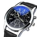 Moda Couro Do Falso Mens Analógica Quarts Assista Blue Ray Homens Relógios de pulso 2016 Mens Relógios Top Marca de Luxo Relógio Ocasional homem