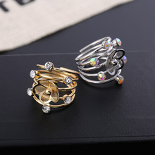 Classic Fashion Alloy Ring Multi-Layer Spring Shape Ring Rhinestone Decoration Open Retro Style Christmas Gift Jewelry Gift Ring rhinestone octopus shape cuff ring