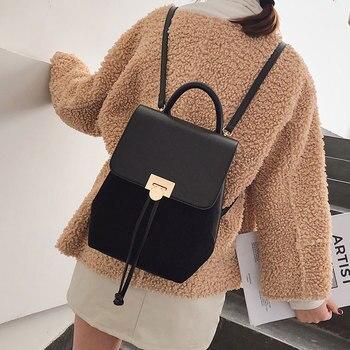 4086d6e6f835 Product Offer. Повседневное PU кожаные рюкзаки Для женщин большой Ёмкость  одноцветное Для женщин Путешествия Bookbags Элитный бренд небольшой рюкзак  ...