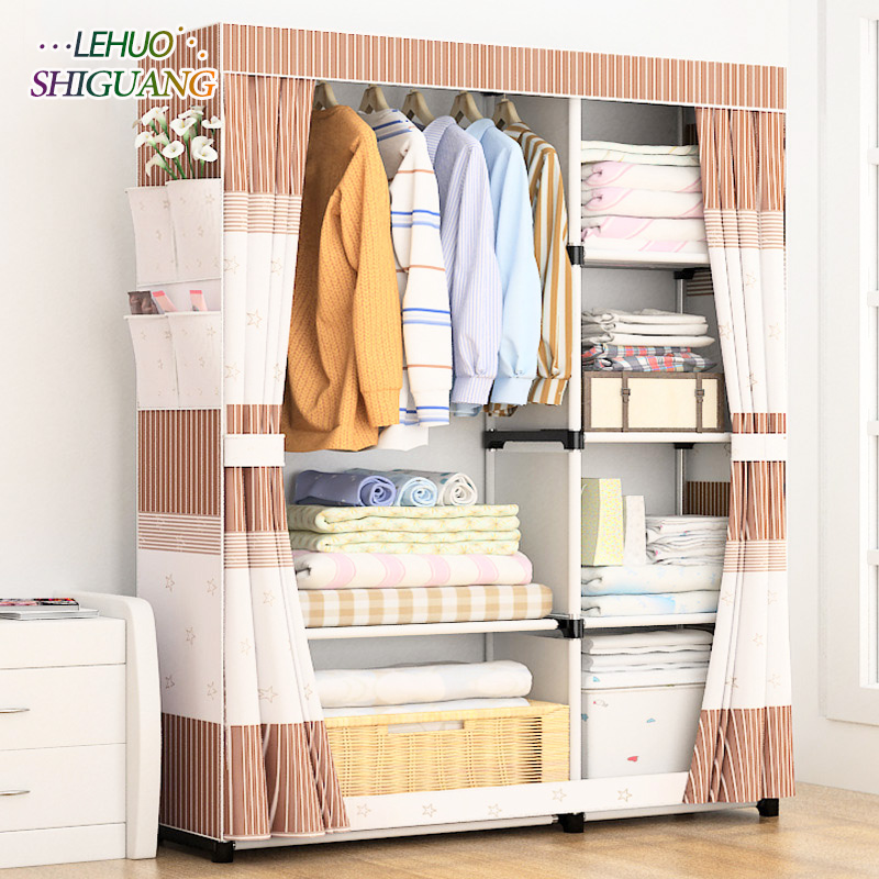 High quality fashion Wardrobe Non-woven Steel frame reinforcement Standing Storage Organizer Detachable bedroom furniture