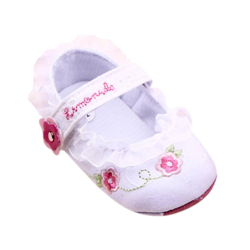 Bébé Nouveau-né Enfants Filles Floral Semelle Souple Crib Bébé Nouveau-né Prewalker Chaussures