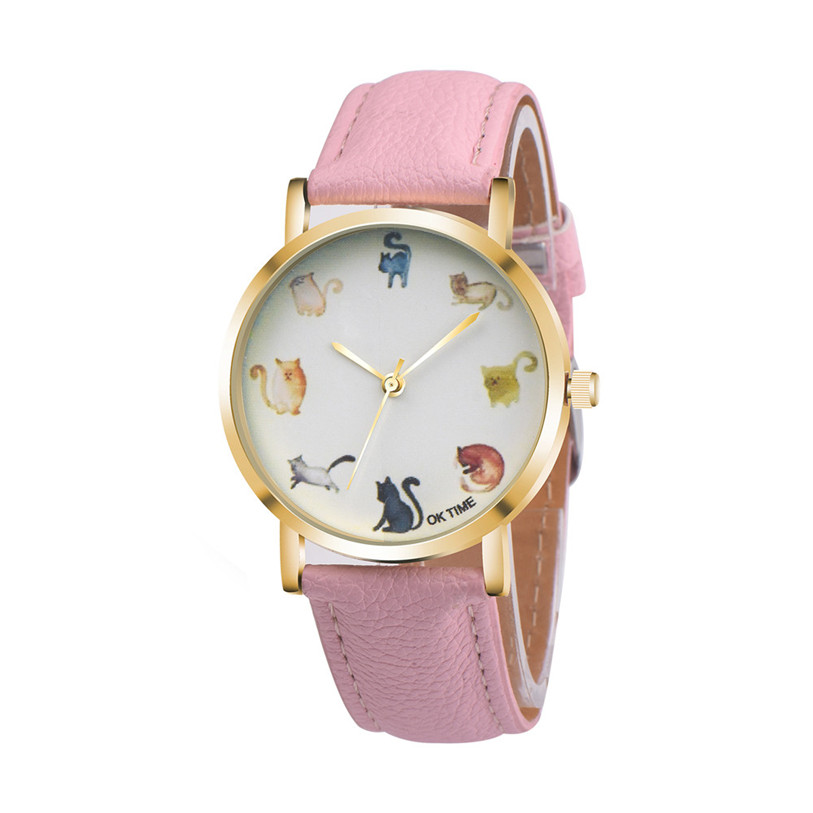 Good Quality OKTIME Women Fashion Leather Band Analog Quartz Cute Cat Pattern Round Wrist Watch Watches Ap19 cute cat pattern women fashion watch 2017 leather band analog quartz round wrist watch ladies clock dress watches relogio time