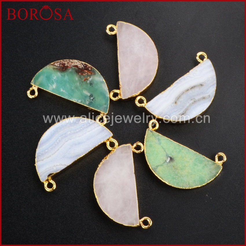 BOROSA Gold Color Half Moon Natural Multi Kind Stones Connector Double Bails DIY Necklace Jewelry Making