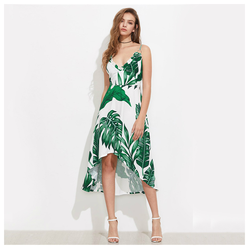 TFGS Women Green Palm Leaf Banana Leaf Print Summer Beach Dress Green V-Neck Ruffle Trim Women Elegant Dresses New Dip Hem Hol