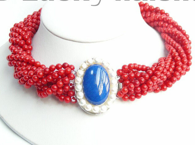 Femmes cadeau mot amour offre spéciale expédition>>>>> AAA 10 Stds 100% naturel rouge corail collier lapis lazuli mujer pour argent-bijoux