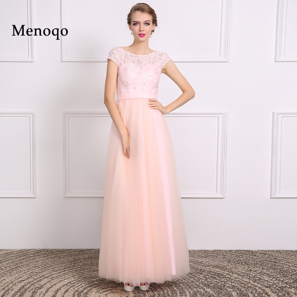 vestido de festa de casamento A line Cap sleeve Lace Tulle Floor length Real Molde 2019   Bridesmaid     Dresses   Long